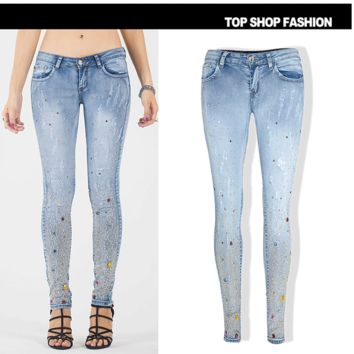 Summer Women's Fashion Ripped Holes Gemstone Pants Plus Size Slim Jeans [6365915012]