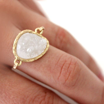 Druzy white ring 14kt gold filled  custom size by anthology27