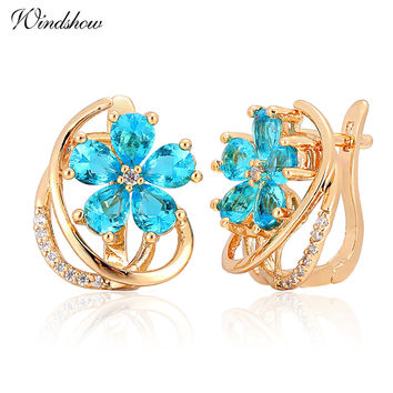 New Five Petal Blue Flower Paved Pear Light Blue Crystals Yellow Gold Plated Brincos D Huggie Hoop Earrings for Womens Jewelry
