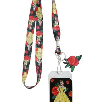 Licensed cool DISNEY Beauty & the Beast Belle Stained Glass Art LANYARD ID HOLDER w/Rose charm