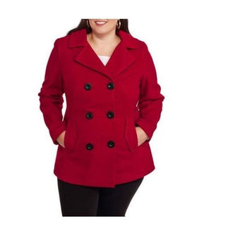 Faded Glory Women's Double-Breasted Faux Wool Peacoat Hood, Ruby, 1X