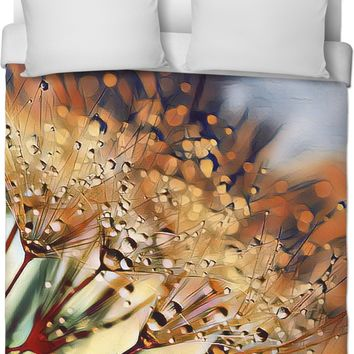 Brown And Green Dandelion Duvet Cover