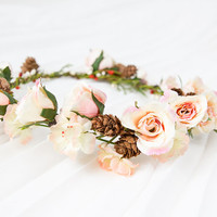 peach cream rose headband hair wreath with pine cones - romantic statement headpiece, quirky whimsical flower crown, woodland - 'Orla'