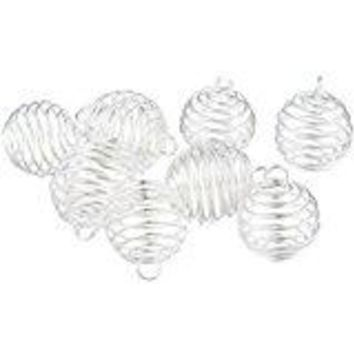 The Oily Essentials 30pcs Silver Plated Spiral Bead Cage Pendants (20mm, 25mm, 30mm)