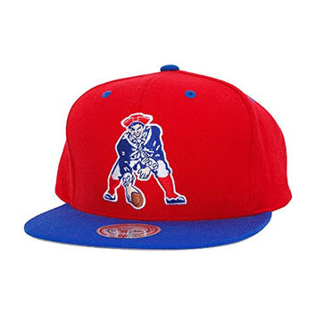 Mitchell & Ness New England Patriots Throwbacks Wool 2 Tone Snapback Hat One Size Fits All