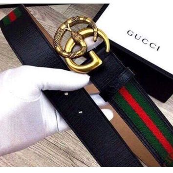 DCCKU7Q Gucci Belt Black Green Red Leather