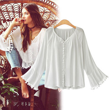 Women Lace Tassel Chiffon Shirts Summer Cosy Top +Necklace