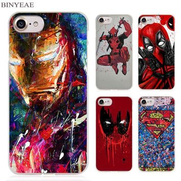 Deadpool Dead pool Taco BINYEAESuper Funny Cool Hero SuperMan Iron Man  Clear Cell Phone Case Cover for Apple iPhone 4 4s 5 5s SE 5c 6 6s 7 Plus AT_70_6