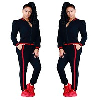 Contrast Bands Black Tracksuit with Puff Shoulder