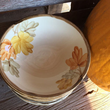 vintage Franciscan ware dishes in October pattern, Franciscan cereal bowls, autumn fall dishes, Gladding McBean dishes, Thanksgiving serving