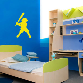 Vinyl Decals Little Boy Baseball Playing Home Wall Art Decor Removable Stylish Sticker Mural L68 Unique Design Nursery Baby Room Office
