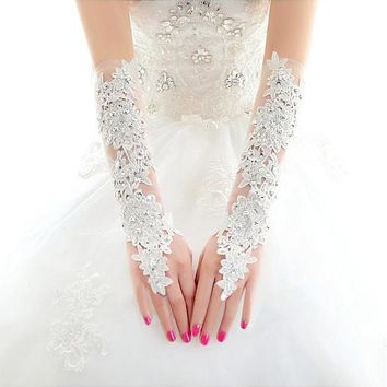 [17.99] In Stock Luxury Net & Lace Ivory Elbow Length Wedding Gloves With Rhinestones And Sequins #blackfriday - dressilyme.com