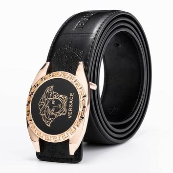 Versace Fashion New Letter Human Head Leather Women Men Belt Width 3CM Golden