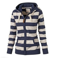 Women Striped Zipper Casual Hoodie Coat Winter New Fashion Sweatshirts Outwear [10292001159]