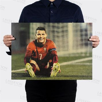 Free shipping,Cristiano Ronaldo B/ soccer star / kraft paper / Cafe / bar poster/ Retro Poster/decorative painting 51x35.5cm