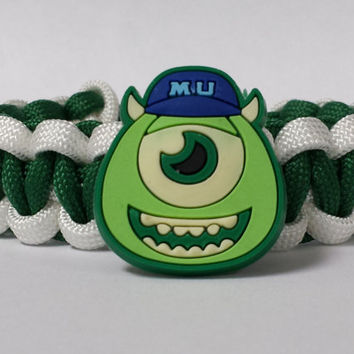 Monsters U Bracelet, Mikey Bracelet, Monsters University Jewelry, Green and White Bracelet, Mikey Custom Bracelet. 26 Colors to choose from