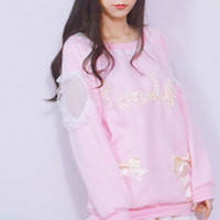 Baby pink long bowknot sweater