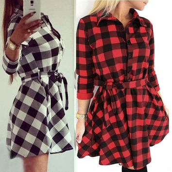 Ladies Plaid Romper Slim Skirt Dress Ladies Party Sexy Mini Shirt Dress