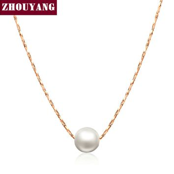 Simple OL Lady Style Imitation Peal Necklace Rose Gold Color Fashion Jewellery Nickel Free Pendant Crystal ZYN430 ZYN362