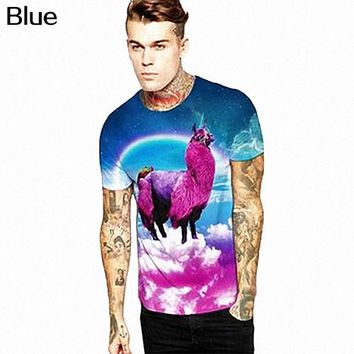 Men Summer 3D Multicolor Rainbow Mud Horse Printing T-shirt size ml
