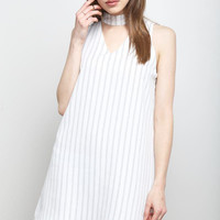 Pinstripe Shift Mini Dress White