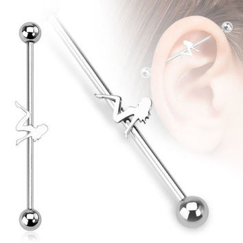 "Sexy Mudflap Girl Industrial Barbell 14G 1 1/2"" Length"