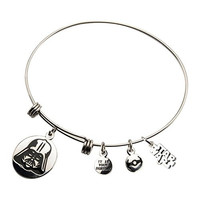 Women's Stainless Steel Star Wars Darth Vader Charm Expandable Bracelet