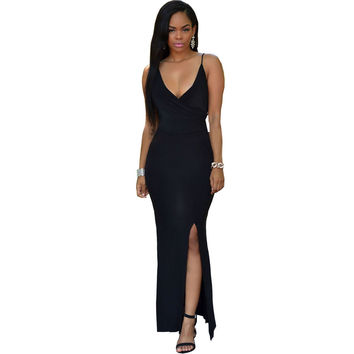 Crisscross Daring Back Black Slip Dress Casual Long Dress  Sexy Backless Beach  Maxi Dress SM6
