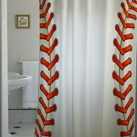 Baseball Texture Ball shower curtain that will make your bathroom adorable