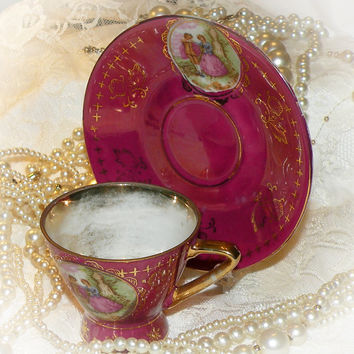 Demitasse Cup Saucer Set Gold Accent Courting Couple Espresso Cup and Saucer JAPAN