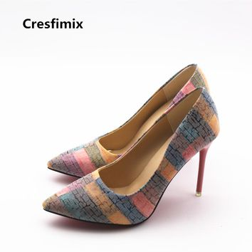 Cresfimix women cute party night club high heel shoes lady casual 10cm high heels female leisure plus size pink high heels