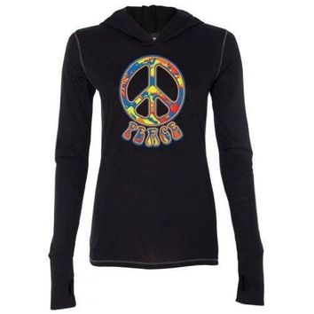 Yoga Clothing for You Womens Funky 70s Peace Tri-Blend Hoodie Tee Shirt