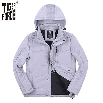 New Collection Men Parkas Fashion Cotton Jacket Casual Padded Coat Nylon Solid Zipper