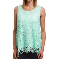 Simply Irresistible Mint Embroidered Split-Back Tank | zulily