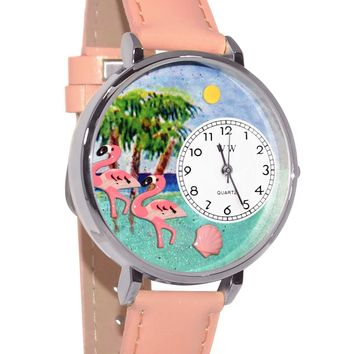 Flamingo Pink Leather And Silvertone Watch