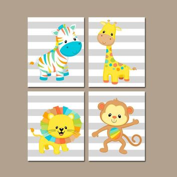SAFARI ANIMAL Wall Art,Baby Boy Safari Nursery Art,Jungle Nursery Decor,Jungle Playroom,Zebra Giraffe Monkey Lion,Set of 4 Canvas or Print