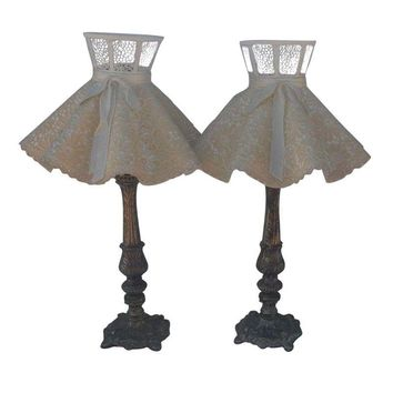 Pre-owned Vintage Boudoir Lamps with Ruffled Shades