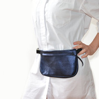 unisex black fanny pack Leather belt bag