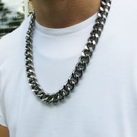28 Inch Gunmetal Curb Chain Men's Necklace - Heavy Urban Edgy Hip Hipster Long Super Thick and Chunky Large Link Chain Jewelry