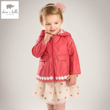 DB4853 davebella spring fashionable girls outerwear shell jacket children coat with hoodies hooded windbreaker
