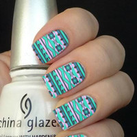 Full Blue Tribal Aztec Nail Art Decals Nail Stickers