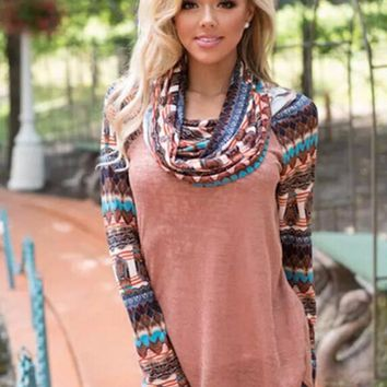 Cowl Neck Print Sweater Shirt