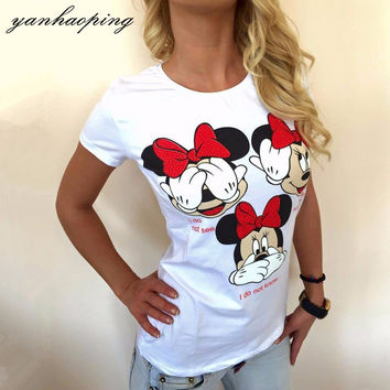Summer Fashion Women's Cute Mickey Mouse Printed Short Sleeve T Shirts Casual Funny T-Shirts For Women Female Tees WSA95