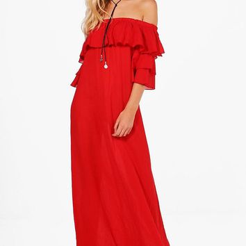 Ellie Ruffle Off Shoulder Maxi Dress | Boohoo