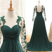 Long Sleeve Green Lace Chiffon Prom Dresses Evening Dresses