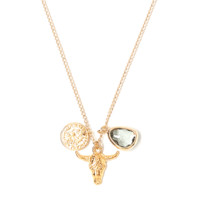 Tess and Tricia Simplicity Gray Bull Cluster Necklace