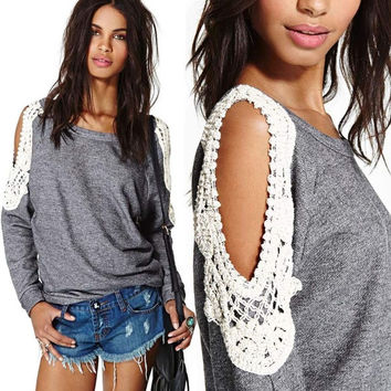 Women Casual Long Sleeve Off Shoulder Loose Gray Lace Top Blouse