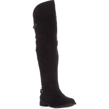 AR35 Adarra Wide Calf Over The Knee Boots, Black Micro, 9 US