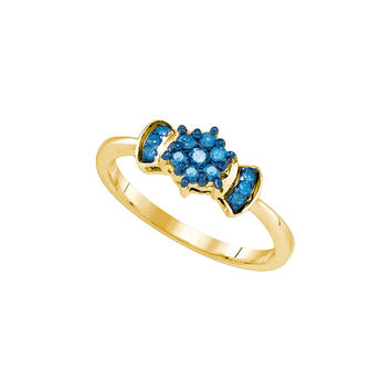 10K Yellow Gold Womens Blue Colored Round Diamond Flower Cluster Ring 1/4 Cttw 79192