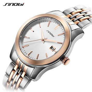 Luxury Men Sports Watches Date Business Wristwatch Gold Stainless Steel Band For Watch Men Women Lovers Watch